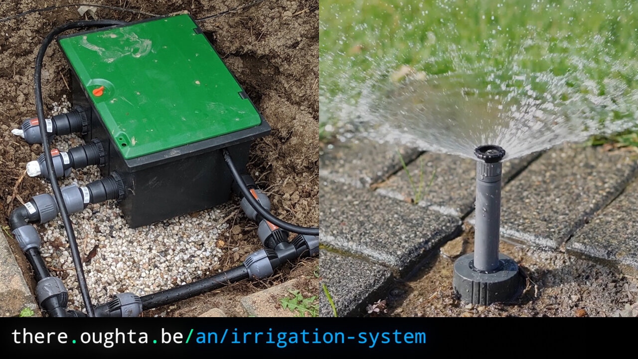 Thumbnail of a youtube video showing an active sprinkler.