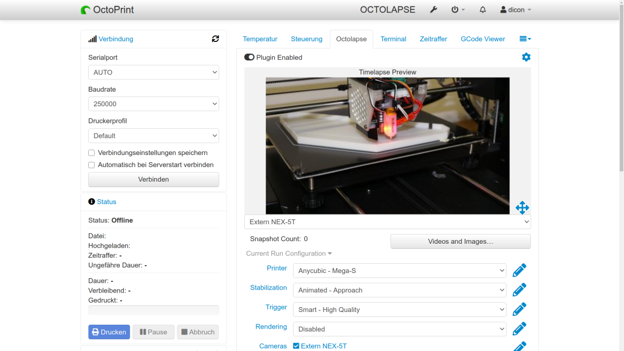 Screenshot of Octoprint.