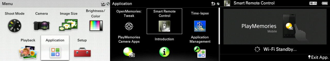 Sequence of menus to access the Wifi remote feature: First the main menu from which you have to pick the application menu, then in the application menu you need to select the smart remote control, which finally leads to the Wifi standby screen.
